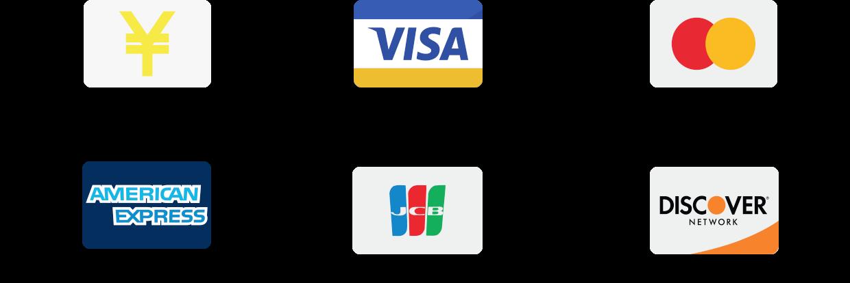 現金、クレジットカード(VISA・MasterCard・American Express・JCB・Discover Card)