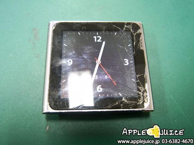 iPod nano 6世代 画面割れ フロントパネル交換修理