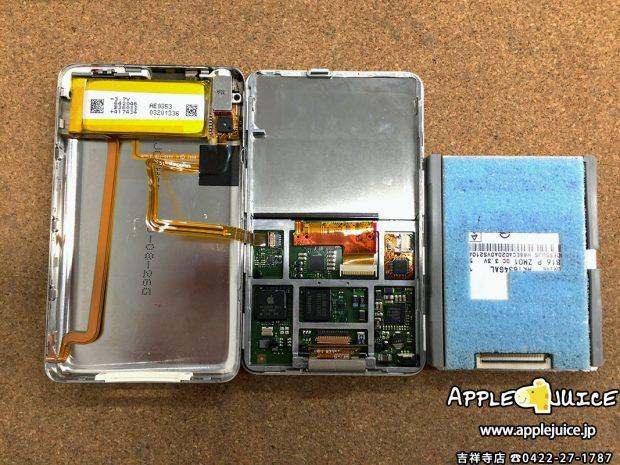 iPodClassic SSD換装修理 分解時
