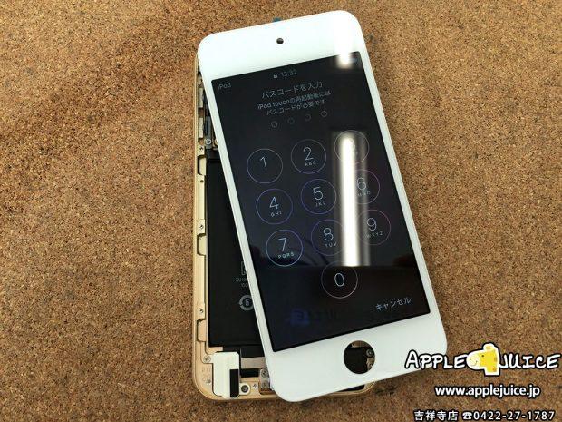 テストの液晶パネルを付けたiPod touch 6
