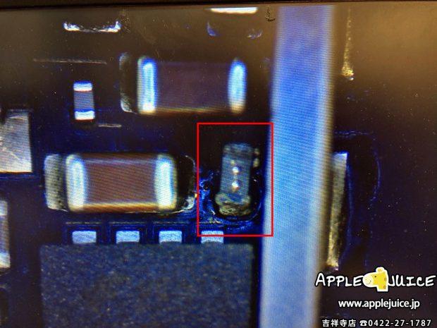 バックライトフィルターがショートしているiPad mini 3の基板
