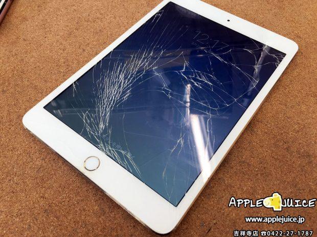 iPad mini 3世代 画面割れの故障 画面交換修理 2017/03/23
