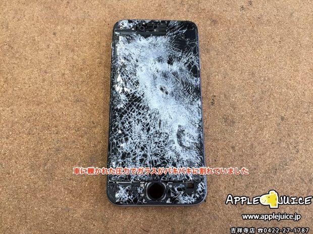 車に轢かれてタッチ操作が出来ないiPhone6 基板修理 「Touch Controller」交換 (東京都 O様)2017/04/17